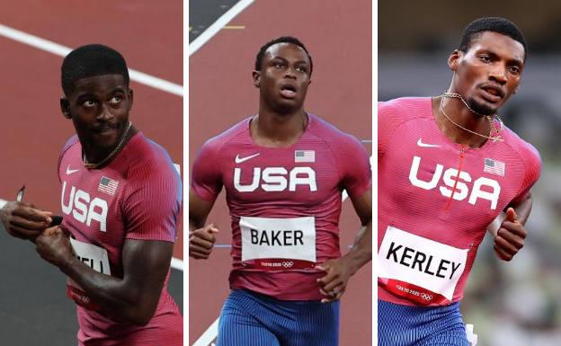 Trayvon Bromell, Ronnie Baker and Fred Kerley