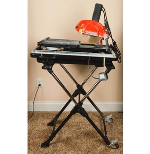 husky tile saw with tray and stand