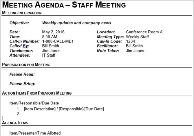 This document allows all participants to adequately prepare for the meeting topics. 15 Free Meeting Agenda Templates For Microsoft Word