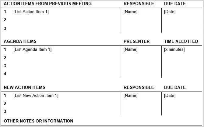 Board meeting minutes must follow a required template, with examples. 15 Free Meeting Agenda Templates For Microsoft Word