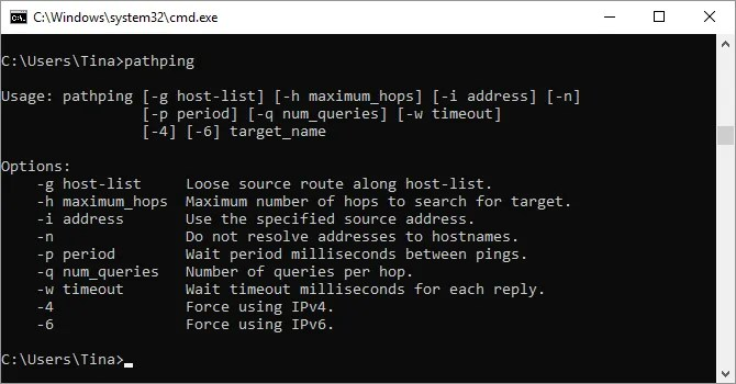 Windows command prompt with PathPing command.