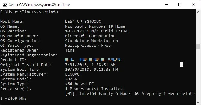 Systeminfo command as seen on Windows 10.