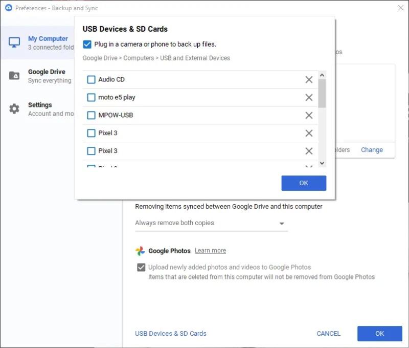 Dispositivi esterni di backup di Google Drive