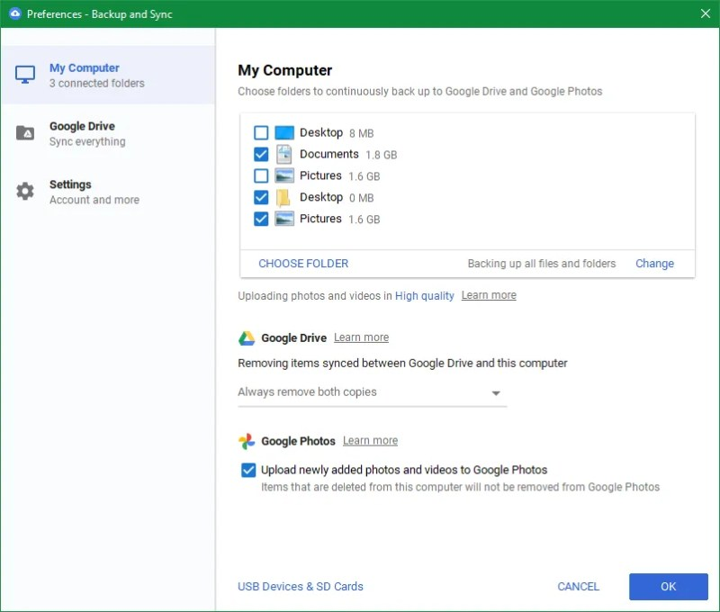 Backup di Windows di Google Drive