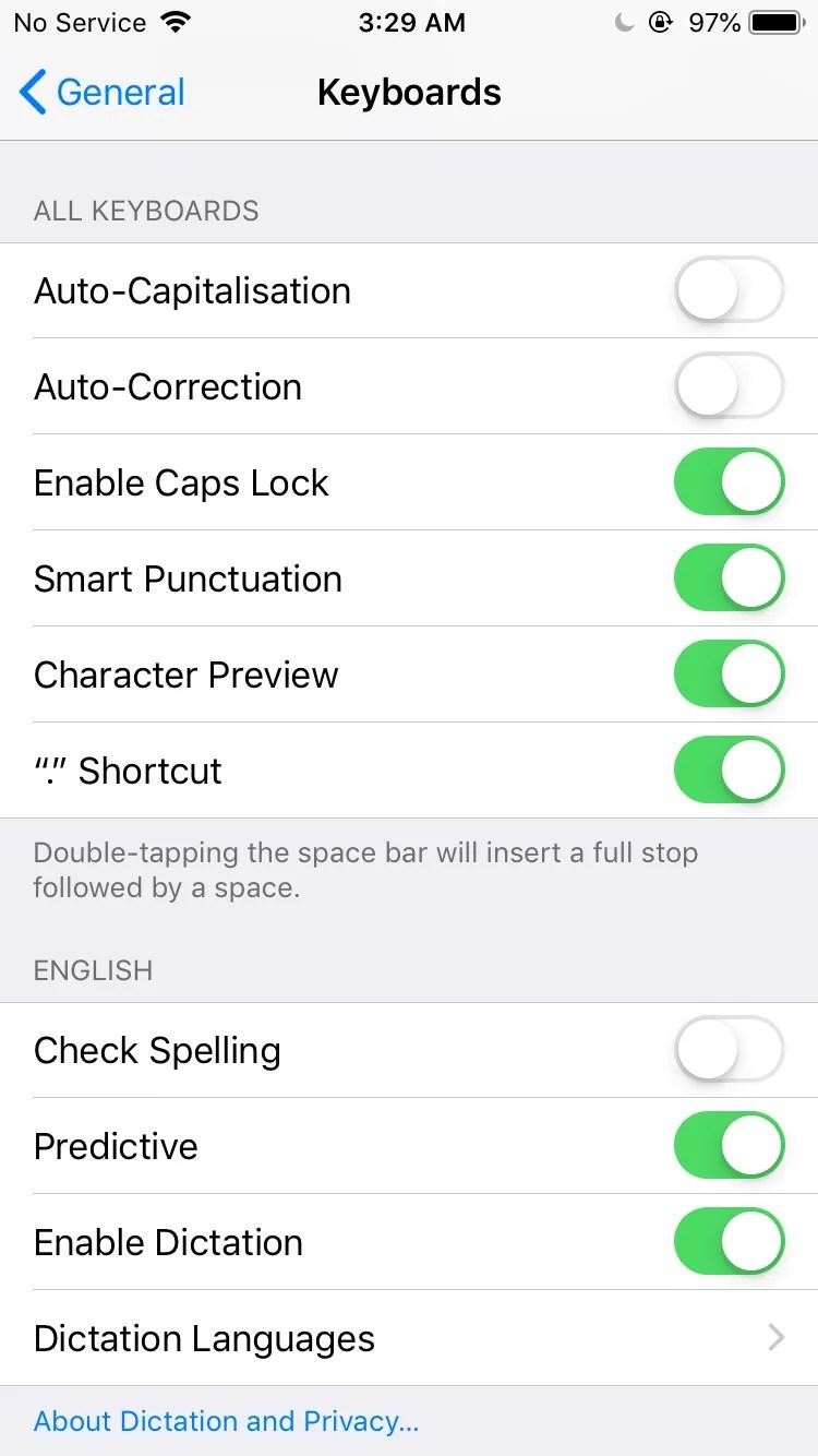 disabilita la dettatura su iPhone