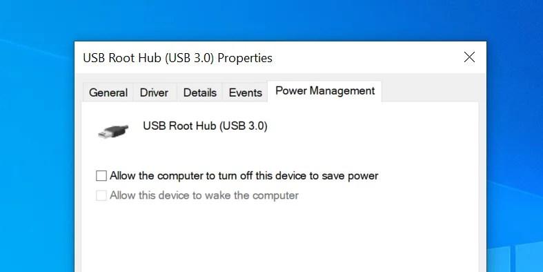 disabilitare il risparmio energetico USB