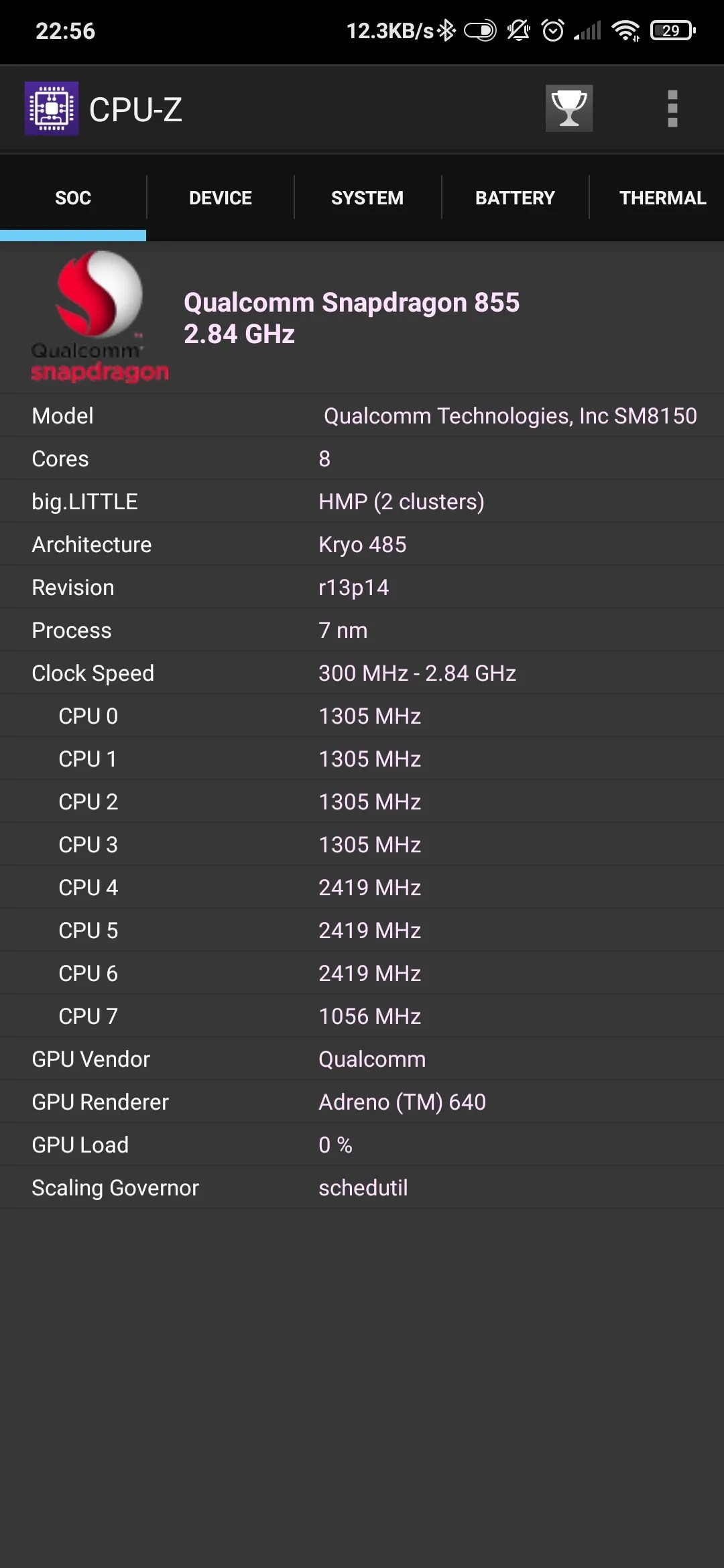 CPU-Z Android phone processor specs