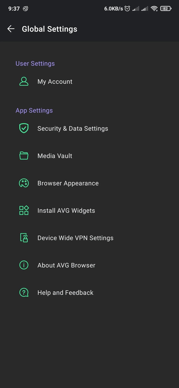 AVG browser settings menu