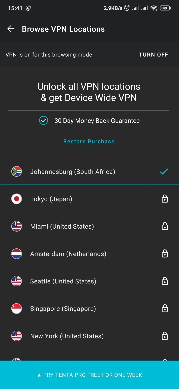 Tenta VPN server list