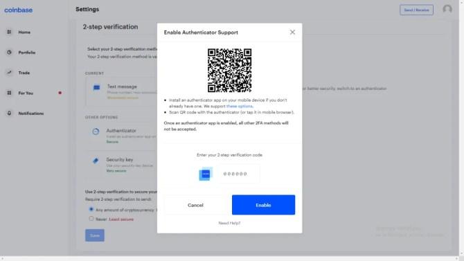 Coinbase 2SV scan QR code