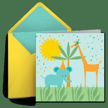 Birthday Giraffe Kids Happy Birthday ECard Greeting Card Birthday Wishes Punchbowl