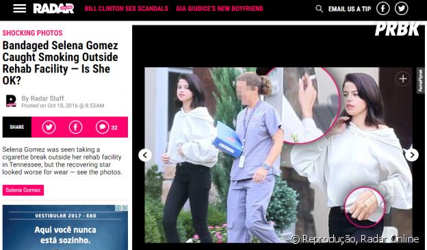 Site americano vaza fotos de Selena Gomez na reabilitação e dá a entender que cantora está fumando