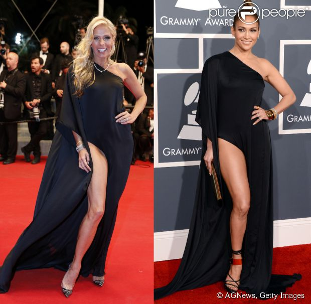 Adriane Galisteu usa em première do Festival de Cannes 2014 vestido preto Anthony Vaccarello escolhido por Jennifer Lopez no Grammy 2013