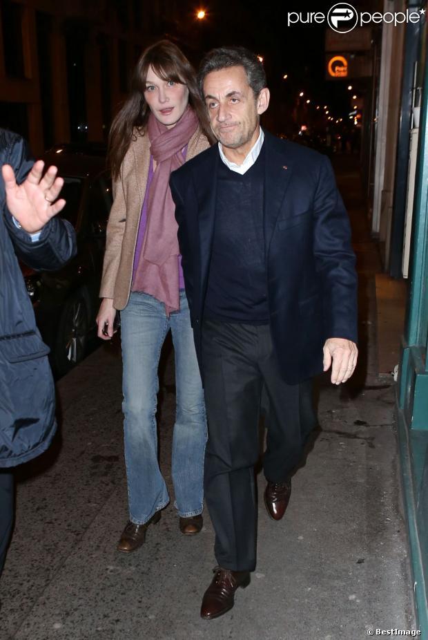 Nicolas Sarkozy et Carla Bruni - pour la 58e anniversaire de Nicolas Sarkozy au restaurant Giulio Rebellato - à Paris le 28 janvier 2013.