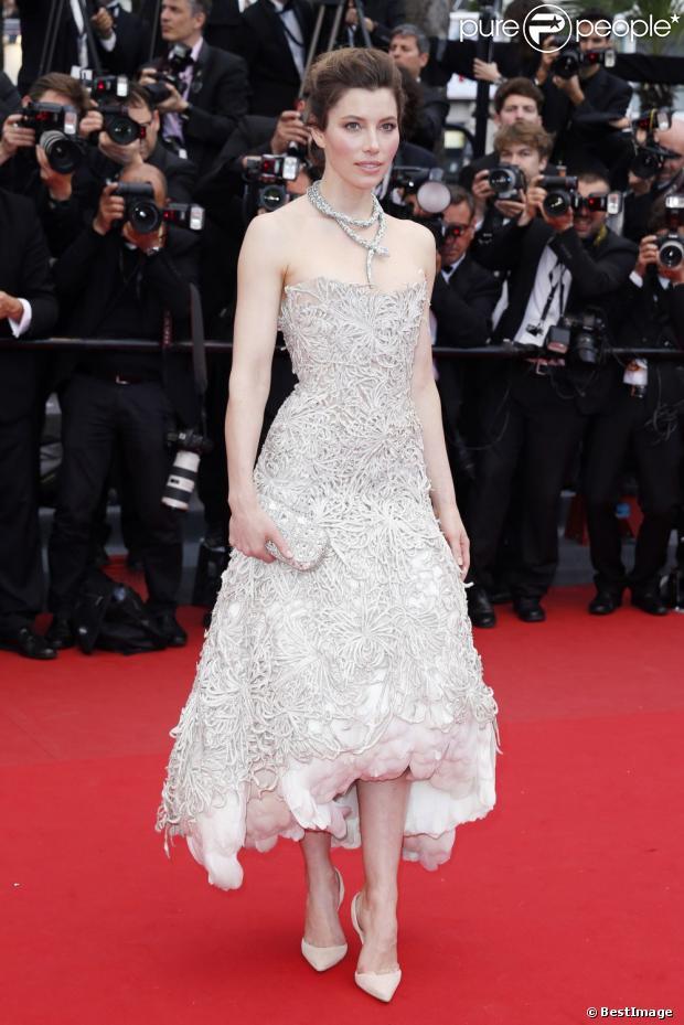 Jessica Biel en robe Marchesa lors du Festival de Cannes, le 19 mai 2013.