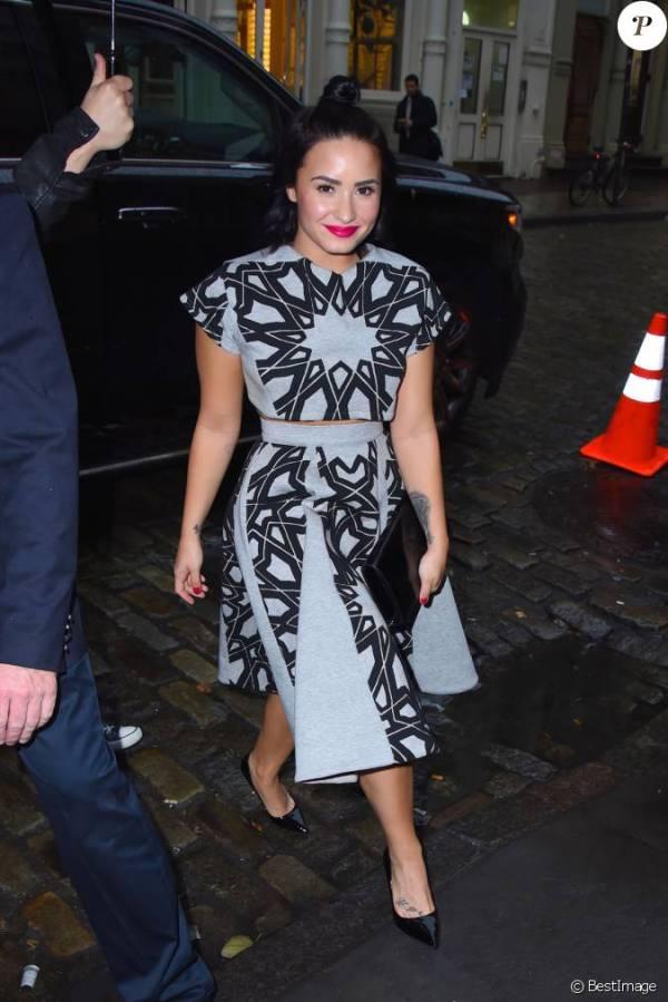 Demi Lovato arrive à l'Apple Store à New York, le 28 ...