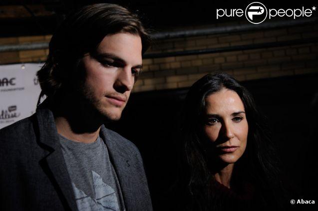 Demi Moore et Ashton Kutcher lors d'une soirée à New-York en avril 2011
