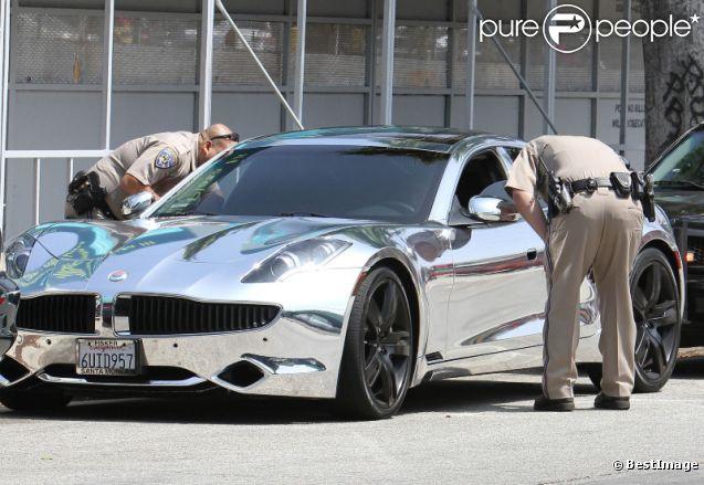 Le chanteur canadien Justin Bieber, arrêté par la police suite à un excès de vitesse, le vendredi 6 juillet 2012 à Los Angeles.