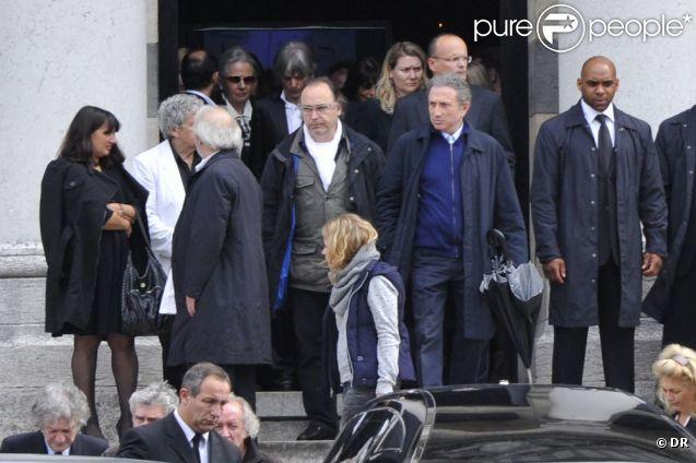 Michel Drucker aux obsèques d'Eric Charden, le 11 mai 2012, à Paris.