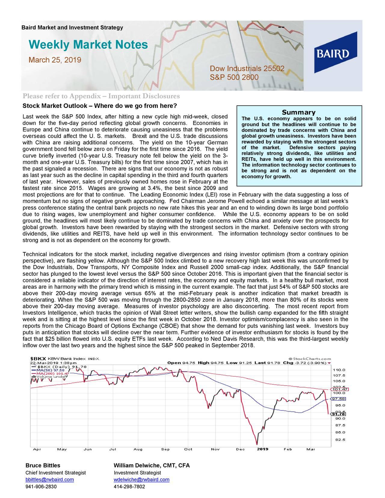 Weekly Market Notes - March 25, 2019 | Seeking Alpha