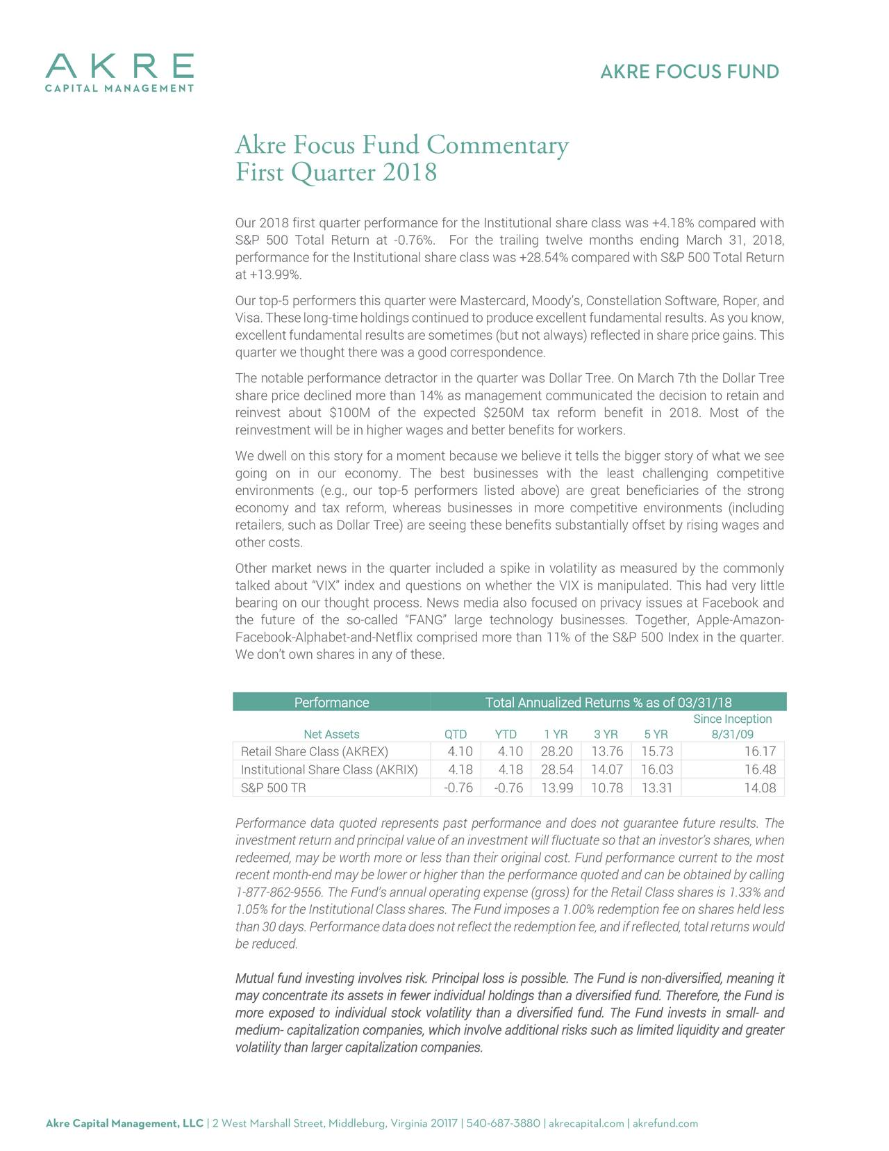 Akre Focus Fund Commentary First Quarter 2018 - Dollar ...