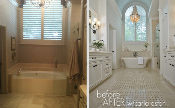Before   After   A Remodeled Bathroom DESIGNED by Carla Aston     DESIGNED