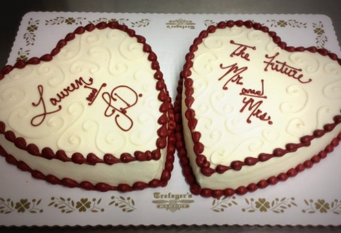 Heart Shaped Engagement Party Cakes Trefzgers Bakery