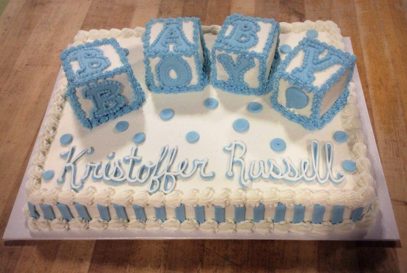 Sheet Cake With Baby Boy 3D Blocks Trefzgers Bakery