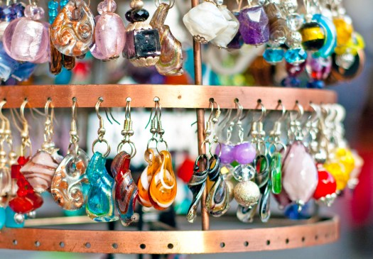 Earring Display at the Market in Rome Italy
