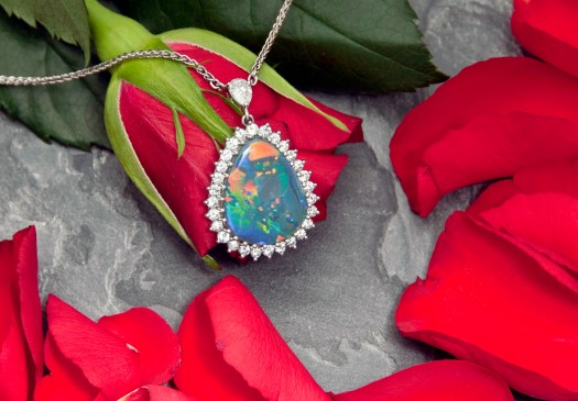 18ct White Gold, Black Opal and Diamond Necklace