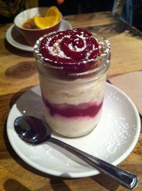 Raspberry, pineapple cheesecake at Lola Rosa.