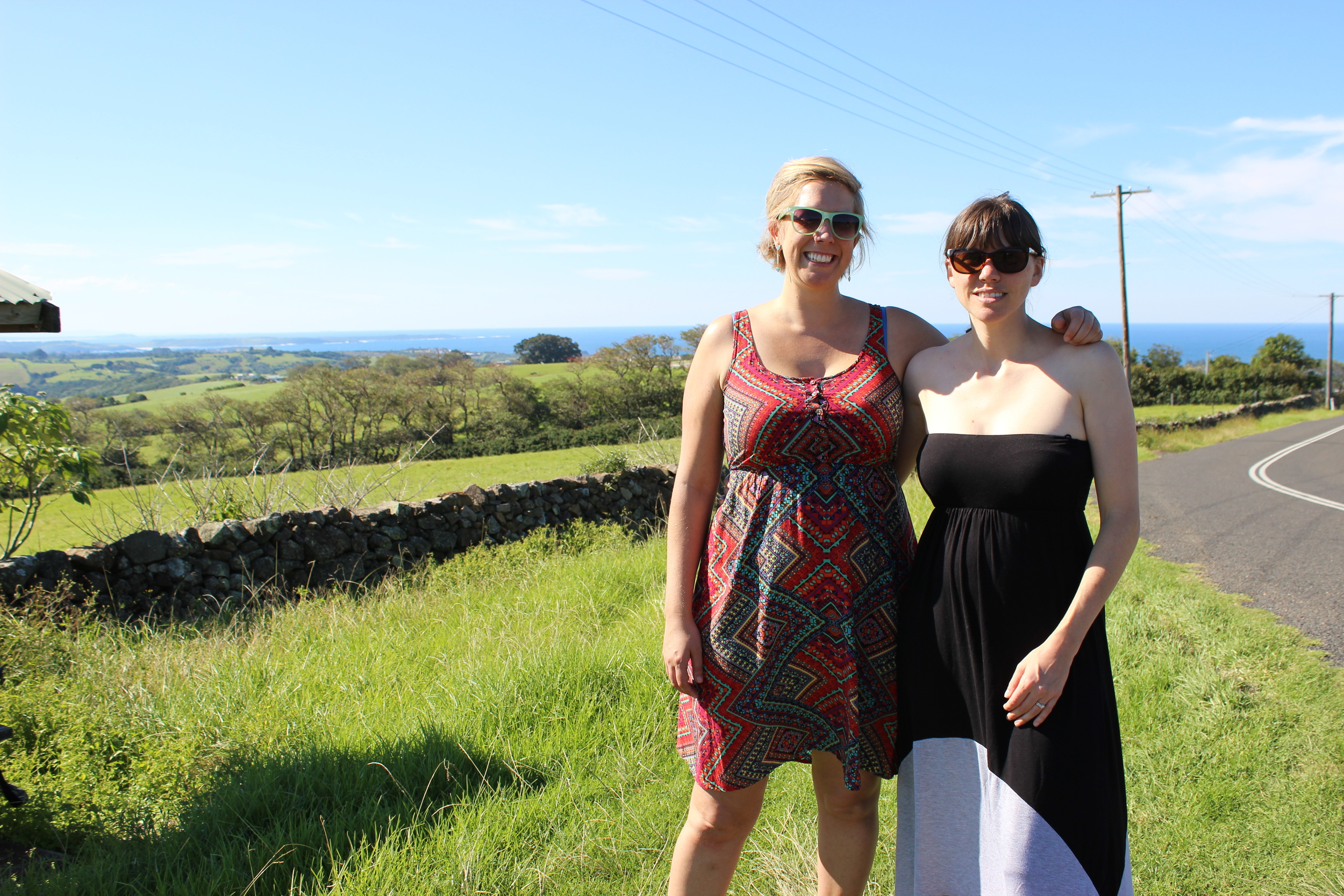 Christen and I outside of Wollongong, touring the countryside and laughing to Hamish & Andy on a gorgeous day.