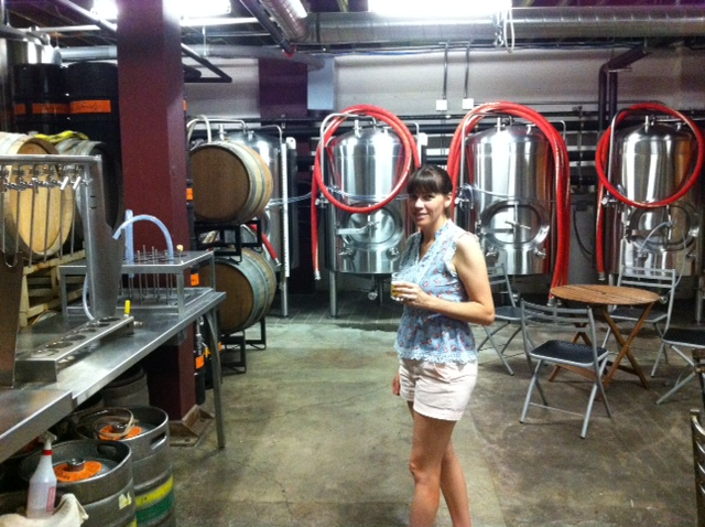Upright Brewing, having a taster while checking out the equipment. Truly amazing craft beer.