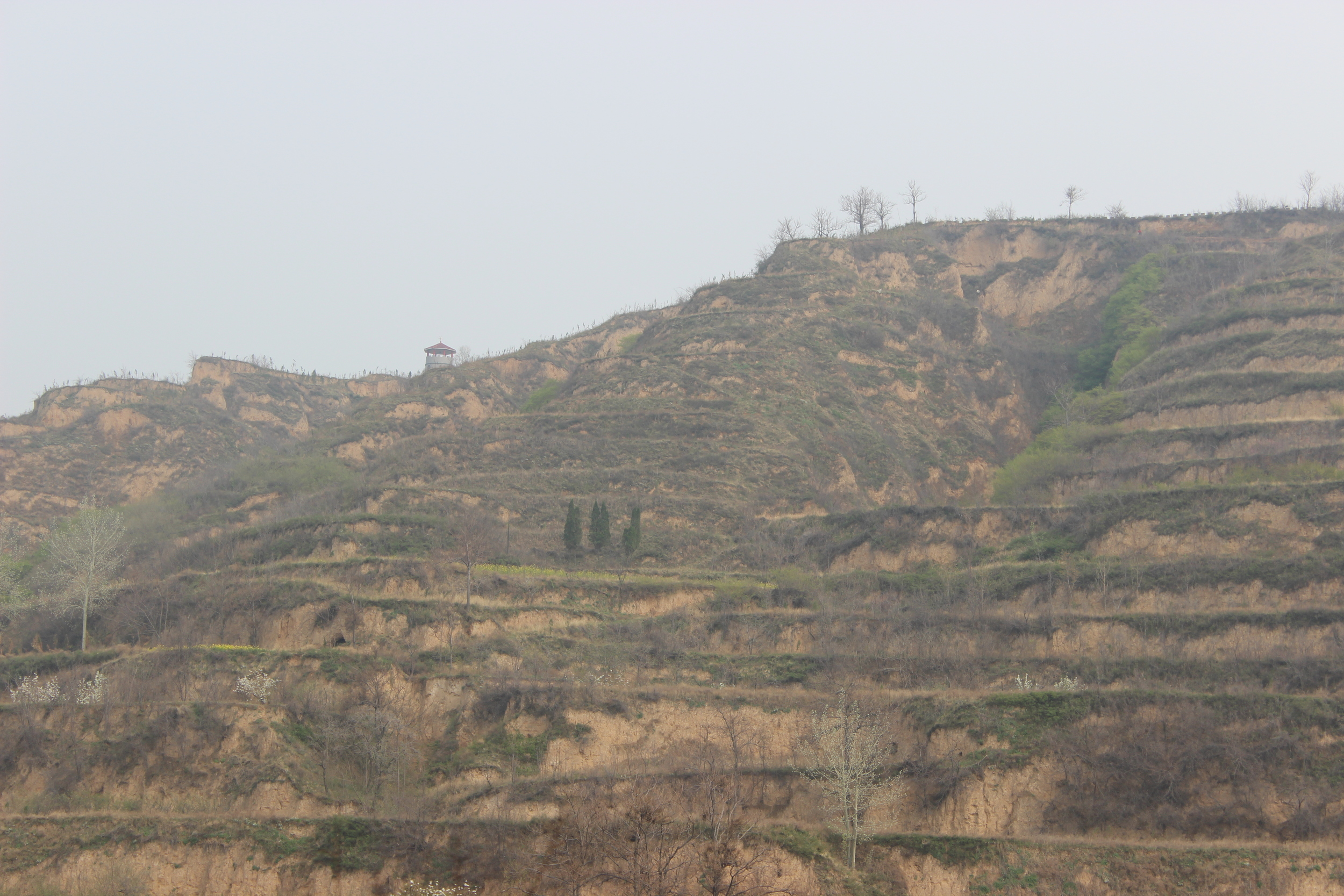 Layers of farm land outside of Sanmenxia.