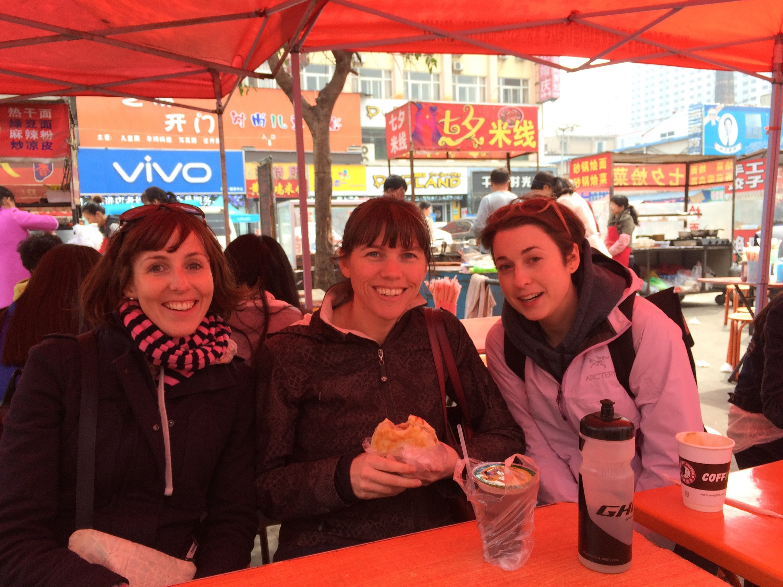 Enjoying street food with Megan and Shannon.