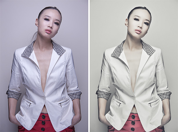 Raw on the left and final retouched image on the right. It is clear to see that the final 'client ready' image has had a personal preference and style added. Photography and retouching by Jake Hicks Photography.