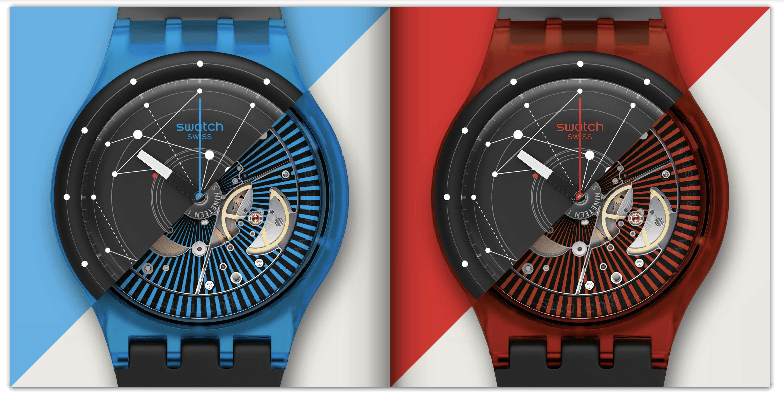 Swatch's SISTEM51: Multiple colors, fully-automatic movement, movement visible through back glass