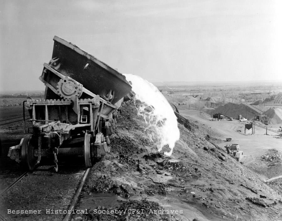 Sites such as this weren't uncommon in the golden age of Pueblo's steel industry. This image is from the 1950s where slag is being dumped east of the CF&I. This scene would be similar at the Colorado Smelter, just north of the current Eiler's neighborhood, where the smelter dumped slag into a nearby ravine. The smelter ceased operations in 1908 but the slag remained.PhotocourtesytheBessemerHistorical Society / CF&IArchives.