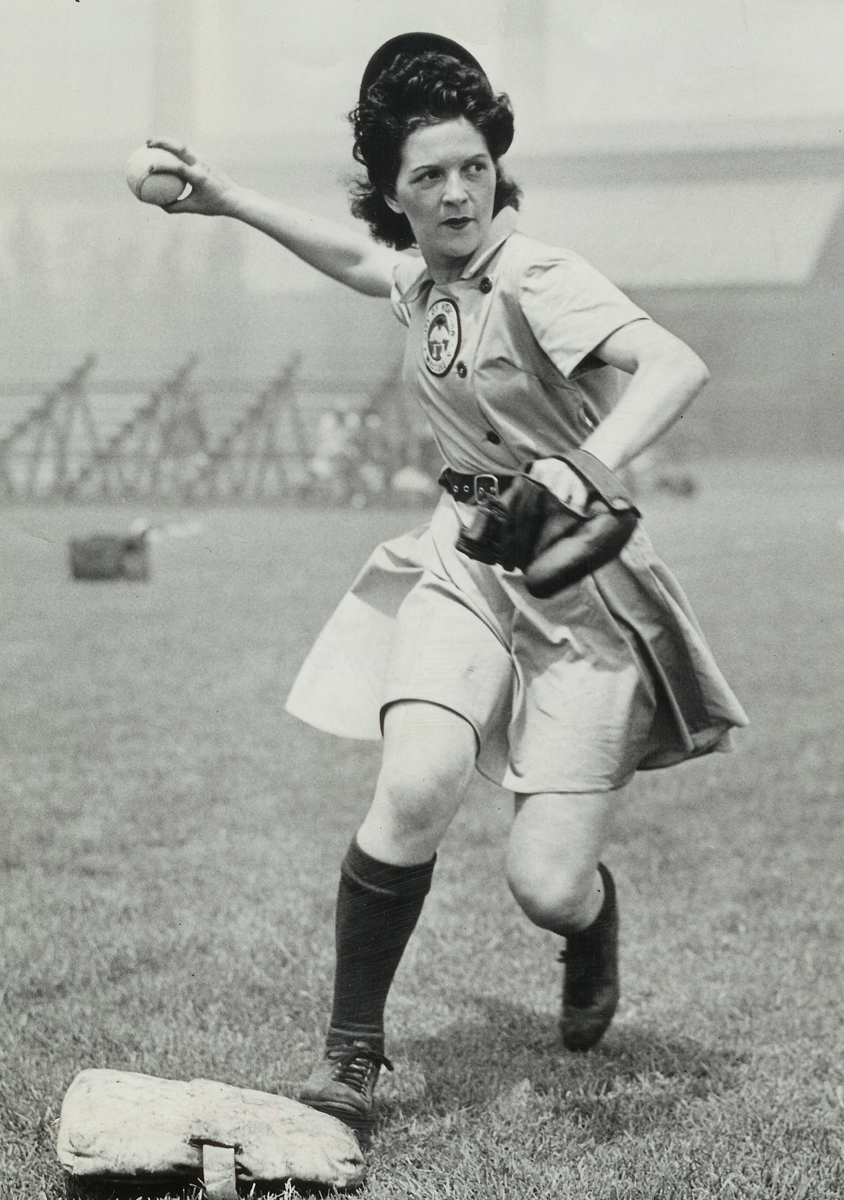 Irene Ruhnke, 2007 reproduction of 1946 original, photograph, 12 x 8 inches, private collection. From the exhibition, Linedrives and Lipstick: The Untold Story of Women's Baseball, toured by ExhibitsUSA, a program of Mid-America Arts Alliance.