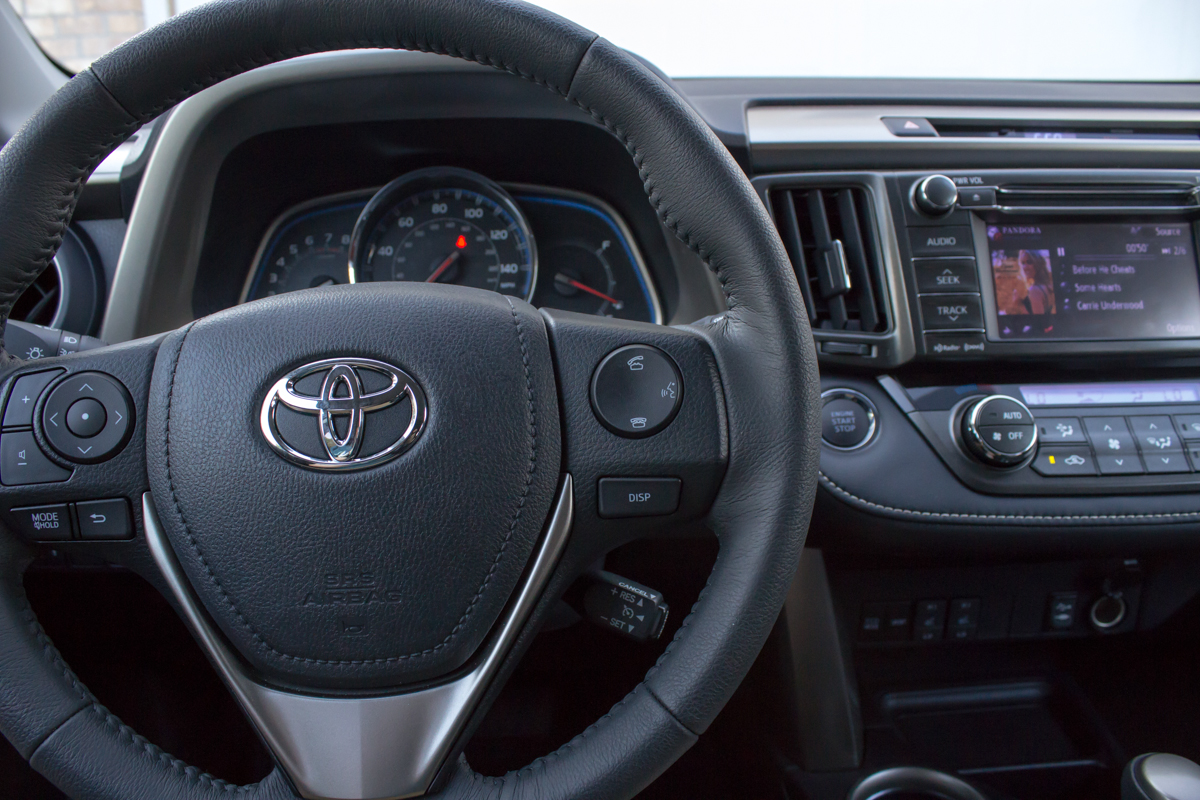 The RAV4's steering wheel comes with controls to activate voice commands, as well as control music playback, regardless of the source.