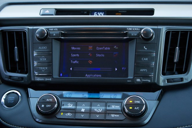 A closer image of the in-dash navigation system, complete with Entune technology in the RAV4.