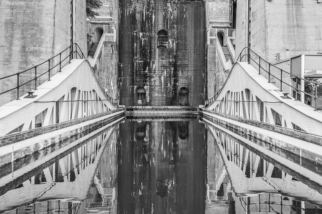 Lift Locks I like this shot simply because of the reflections and processing in black and white. It gives an almost abstract feel to Peterborough's famous landmark.