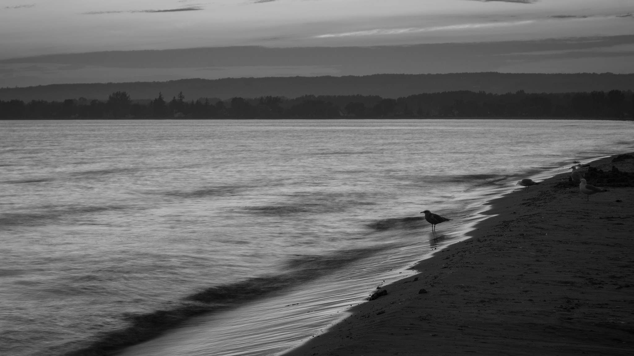 Presqu'ile Sunset in Black and White (1s, f/8, ISO100)