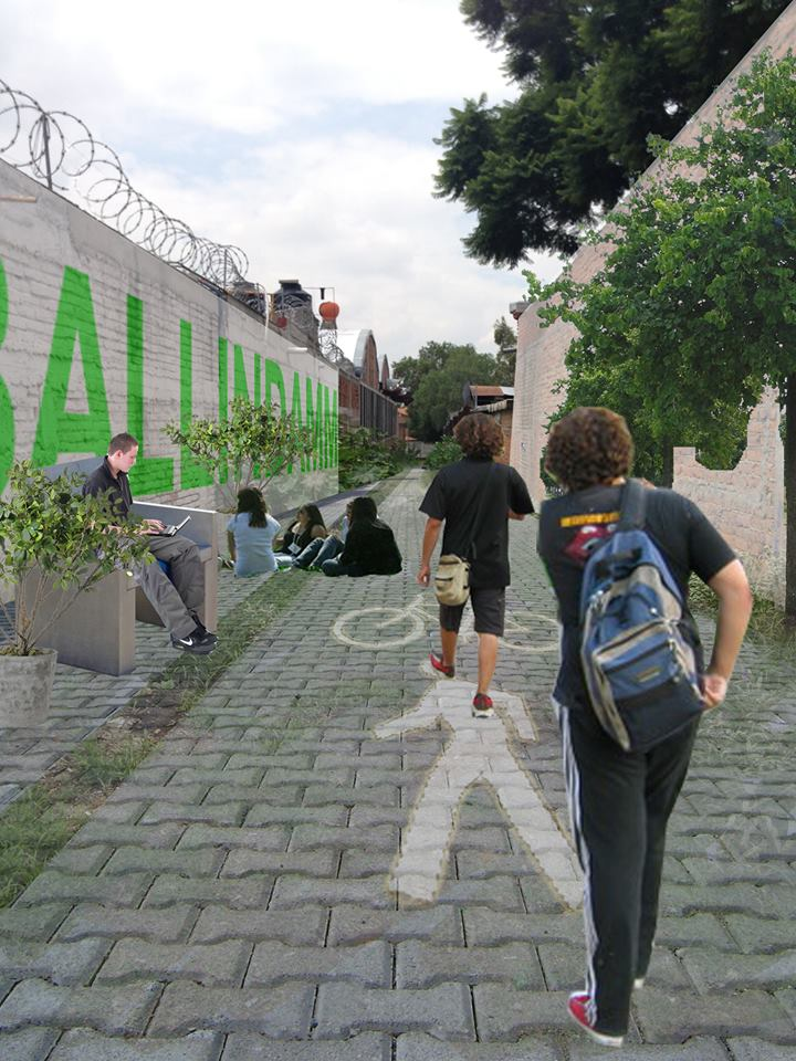 Alguna de las propuestas elaboradas por dérive Lab sobre las posibilidades y usos que se le pueden dar a la calle Ballindamm, en Querétaro.