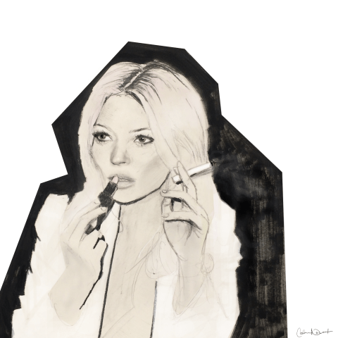 Kate Moss // Illustration by Cat Novak