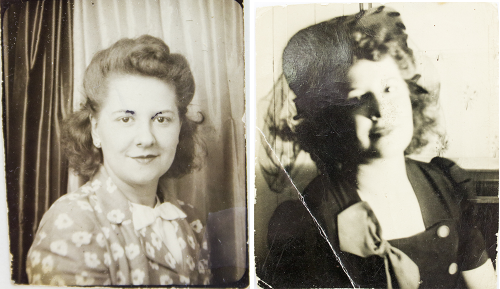 More photos of my Aunt Ann carried by Joe, both taken 1943. They're a bit damaged (especially the ink in her eyebrows on the Left). They're only a little larger in size than your thumb nail on your hand!