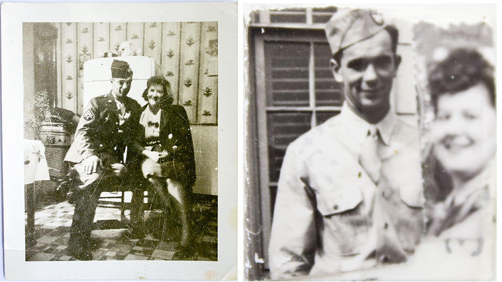 (Left: Joe and Ann, Right: Tapped together photos about the size of a quarter carried by ann during Joe's deployment).