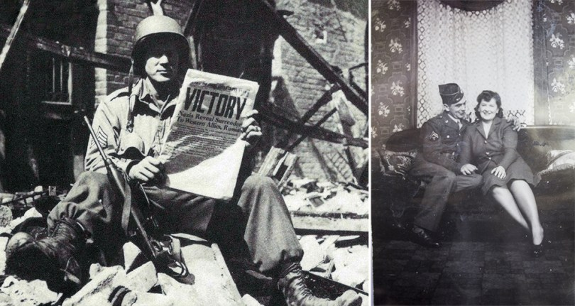 Right: This 17th Airborne trooper reads the good news on the Star and Stripes journal: the war in Europe is over!OnMay 8, 1945, the 17th Airborne Division closes its European campaign with a heavy price for victory (National Archive). Left: Joe and Ann.