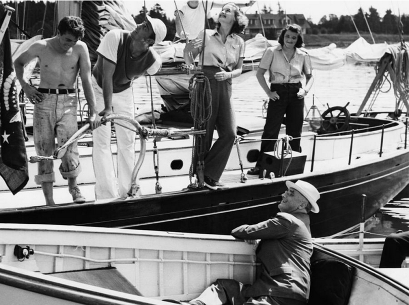 Franklin and Ethel are in the middle, the President is seated in his boat, source.