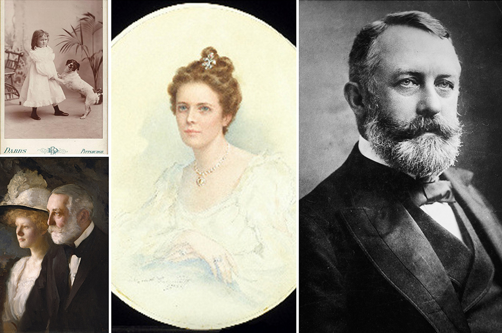 Left: (top) Helen as a girl and (bottom) with her father, Middle: Adelaide Childs Frick, Right: Henry Clay Frick